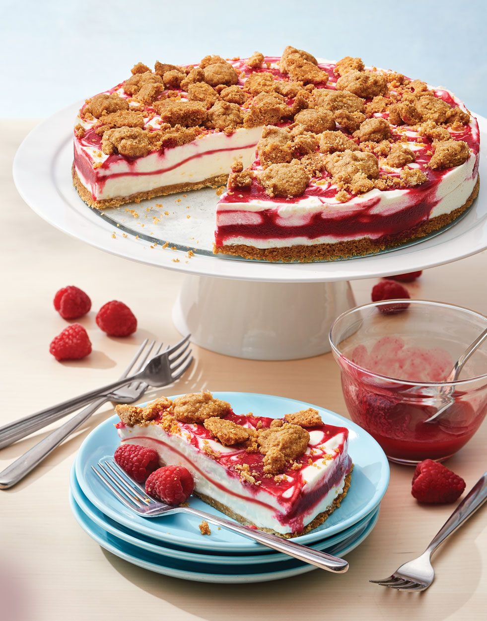 Raspberry Ripple Ice Cream Pie with Toasted Almond Crumble