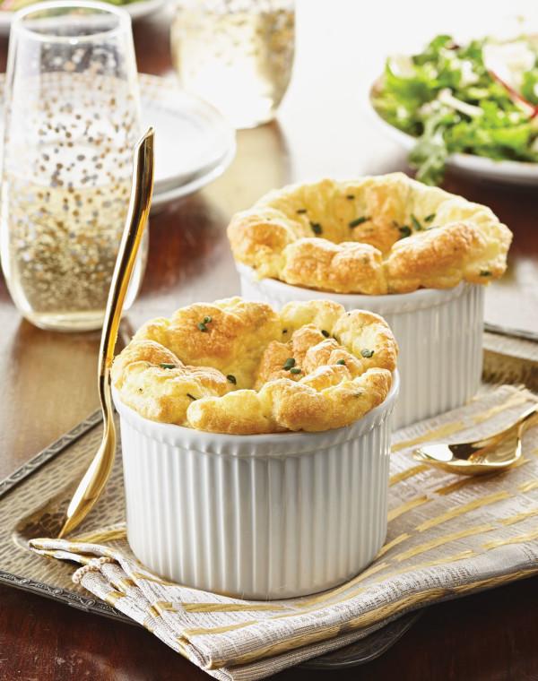 Mini Herbed Potato Soufflés with Crème Fraîche