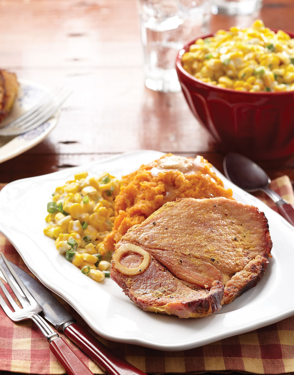 Ham Steak With Mashed Sweet Potatoes Recipe