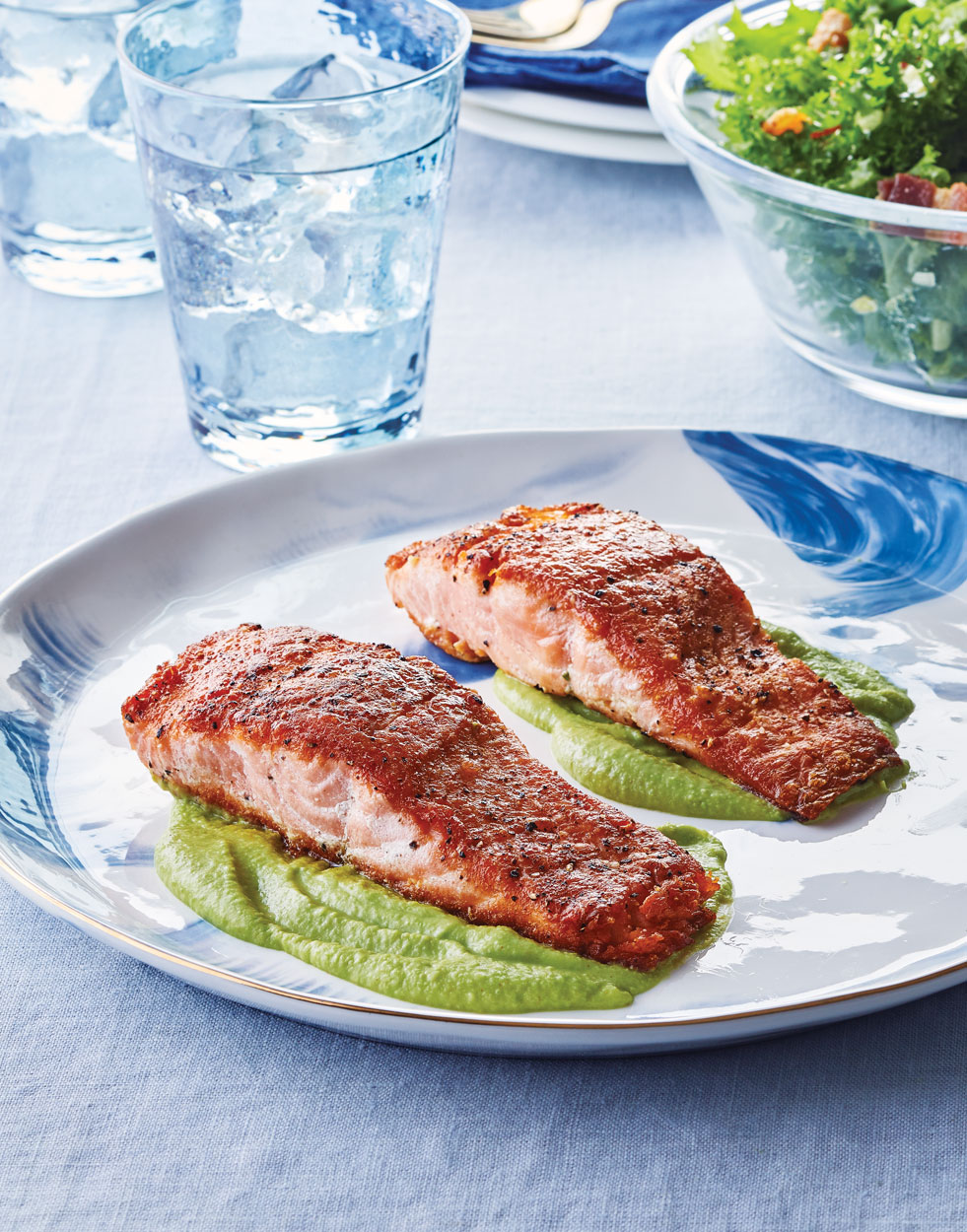 Seared Salmon with Green Pea Purée