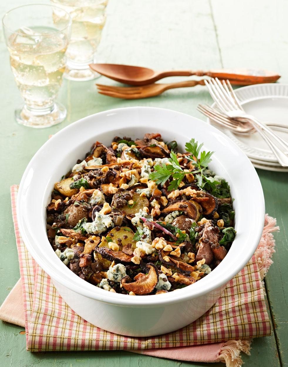 Warm Beluga Lentil Chard Salad Recipe