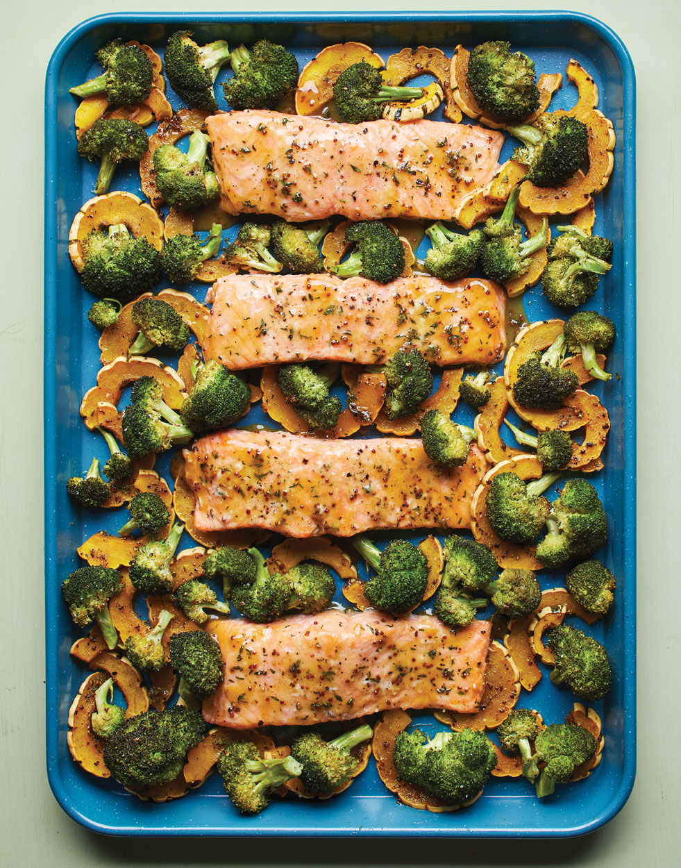 Maple-Mustard Sheet Pan Salmon with Delicata & Broccoli