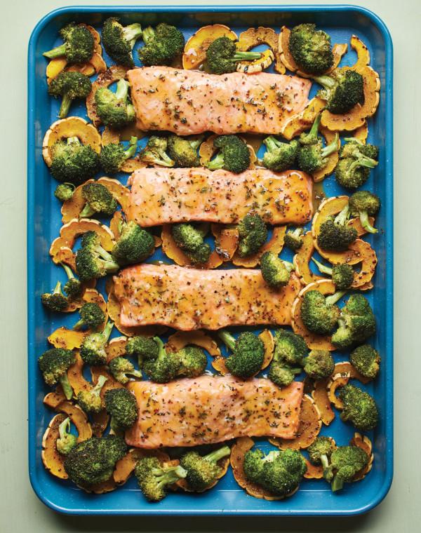 Maple-Mustard Sheet Pan Salmon with Delicata & Broccoli