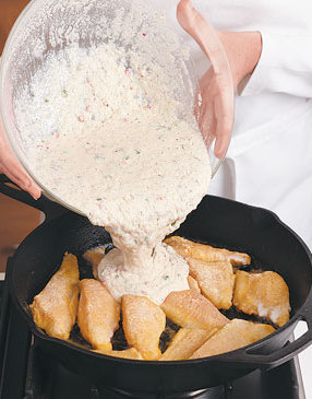 Fish-Hush-Puppy-Skillet-with-Ketchup-Tartar-Sauce-Step2