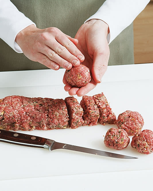 Here's a quick, easy, and tidy way to make uniform meatballs without the use of a scoop.