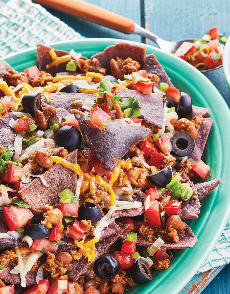Loaded Nachos with Blue Corn Tortilla Chips