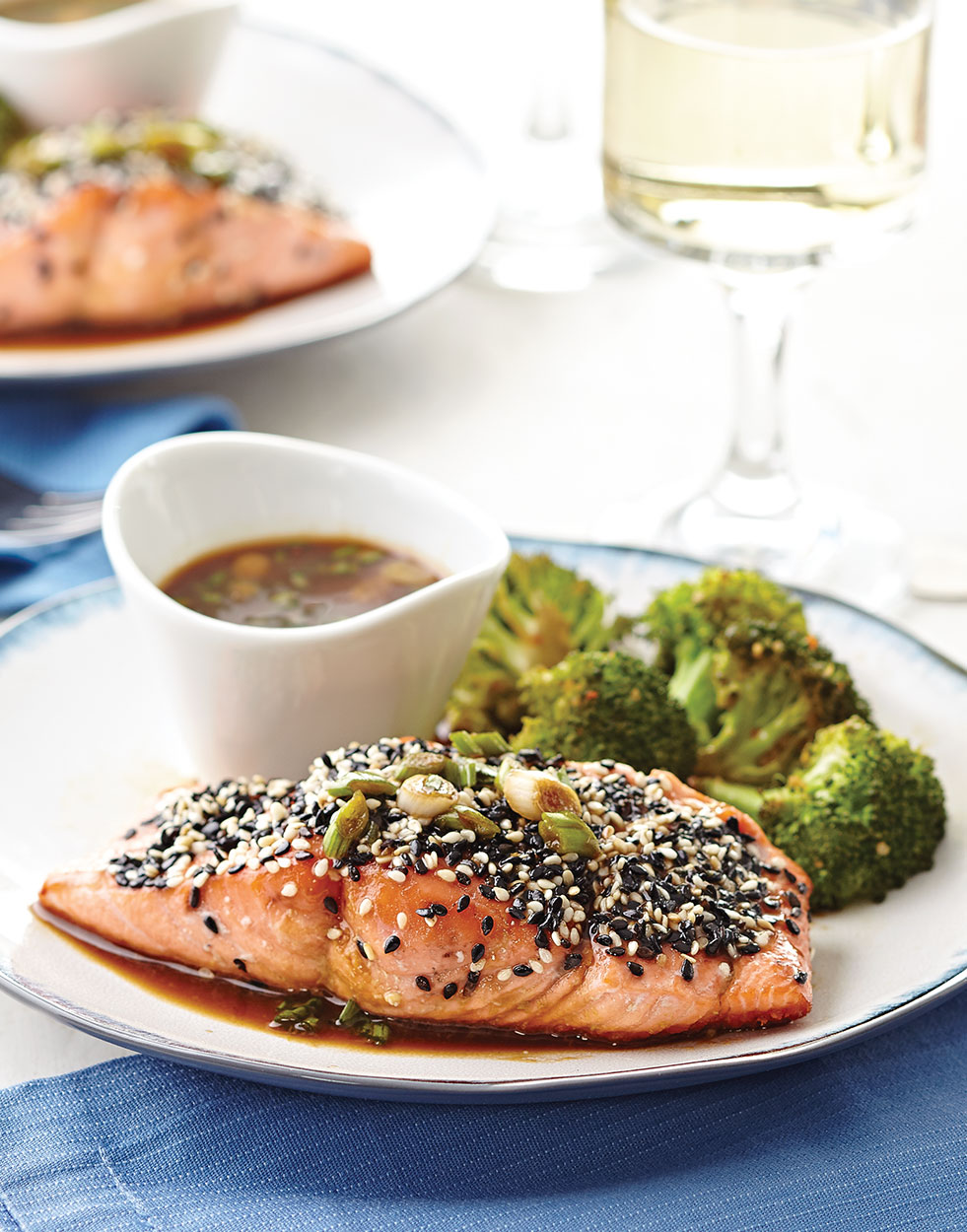 Sesame-Crusted Salmon with wasabi dipping sauce