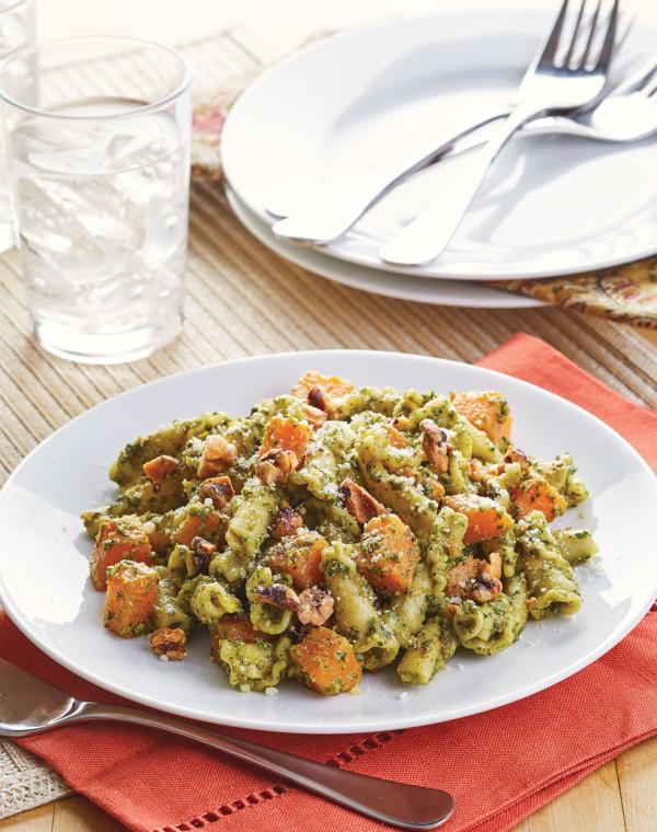 Sage & Walnut Pesto Pasta with Sweet Potatoes