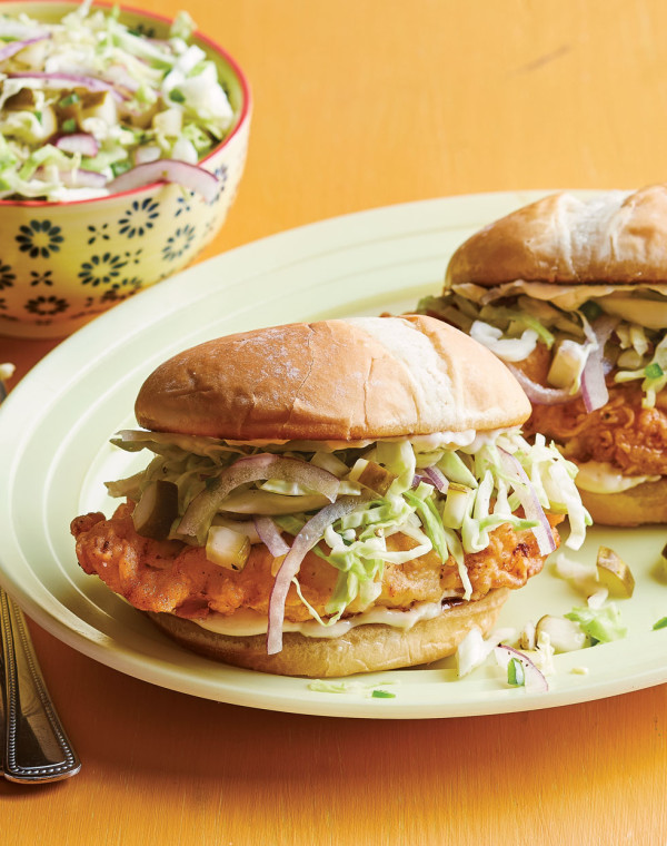 Fried Chicken Sandwich with dill pickle coleslaw