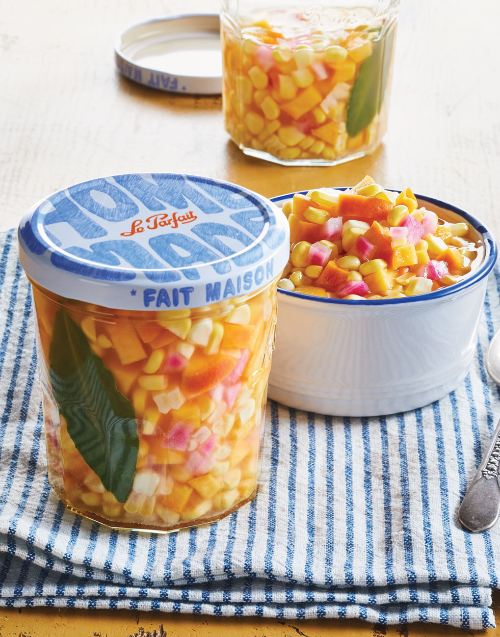 Pickled Corn Relish with Peaches & Red Onion