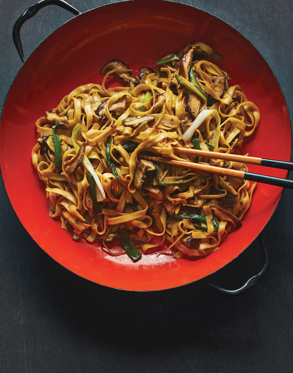 Long Life Noodles with shiitakes, ginger & scallions