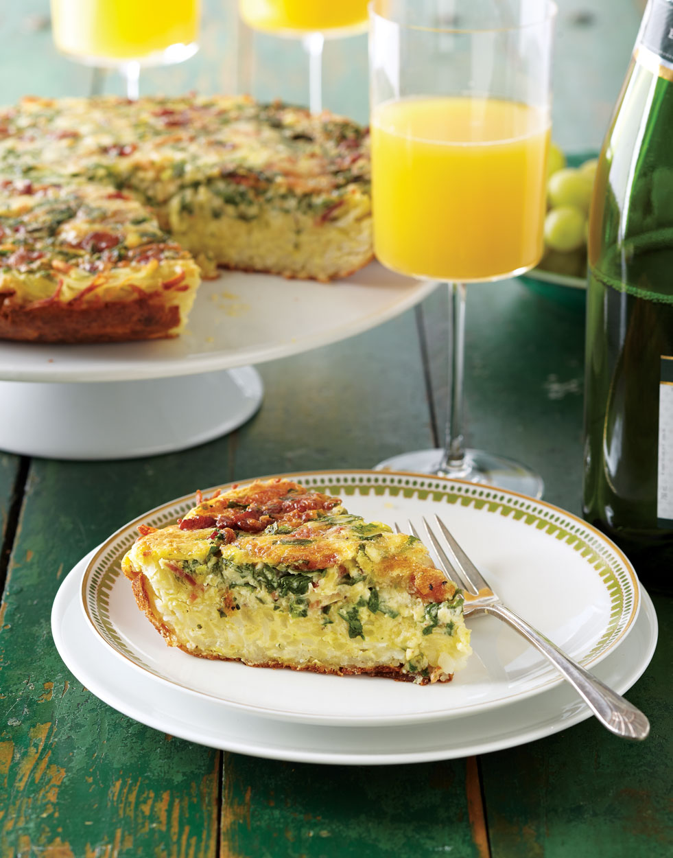 Spinach & Bacon Frittata with Hash-Brown Crust