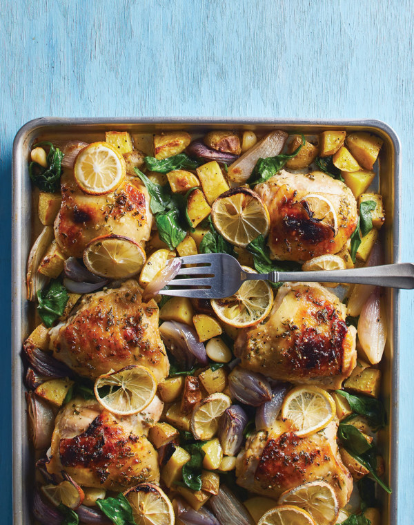 Rosemary-Lemon Sheet Pan Chicken with Potatoes & Spinach