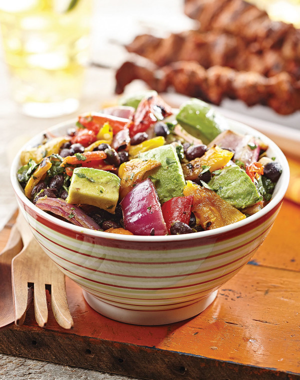 Grilled Pepper Salad with black beans & avocado