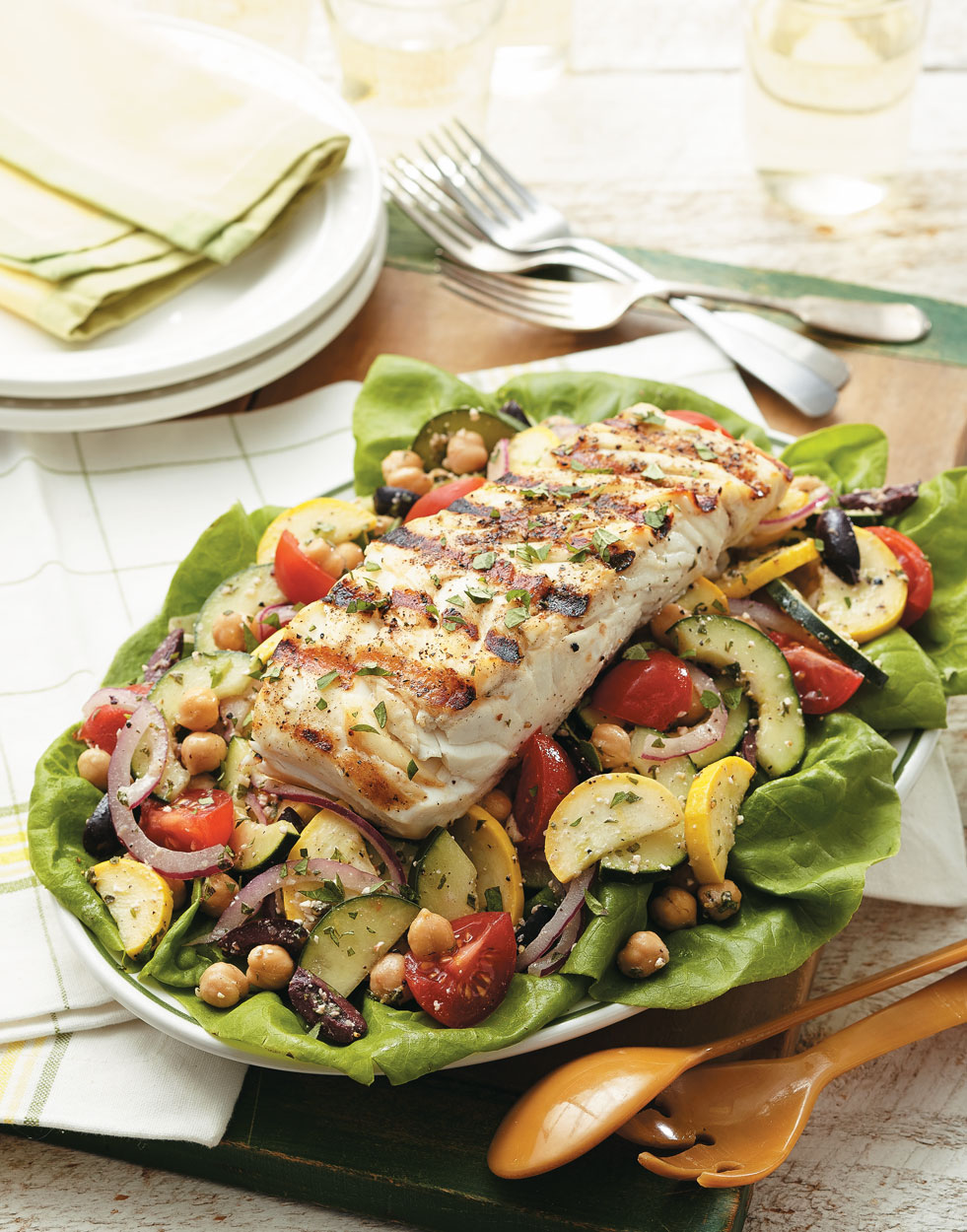 Grilled Halibut Greek Salad
