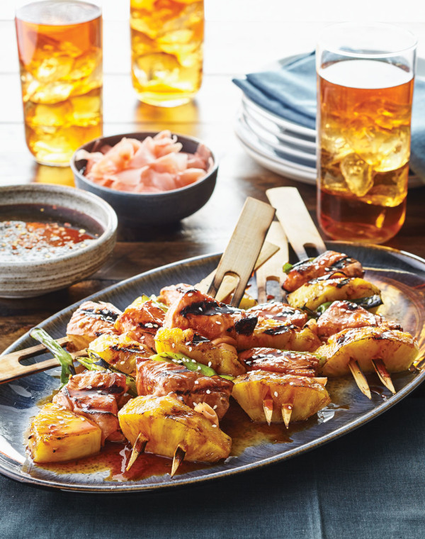 Grilled Salmon Skewers with sriracha caramel