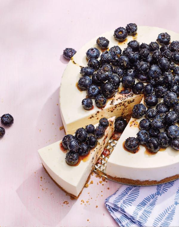 No-Bake Greek Yogurt Cheesecake with Brown Sugar Blueberries and Poppy Seeds