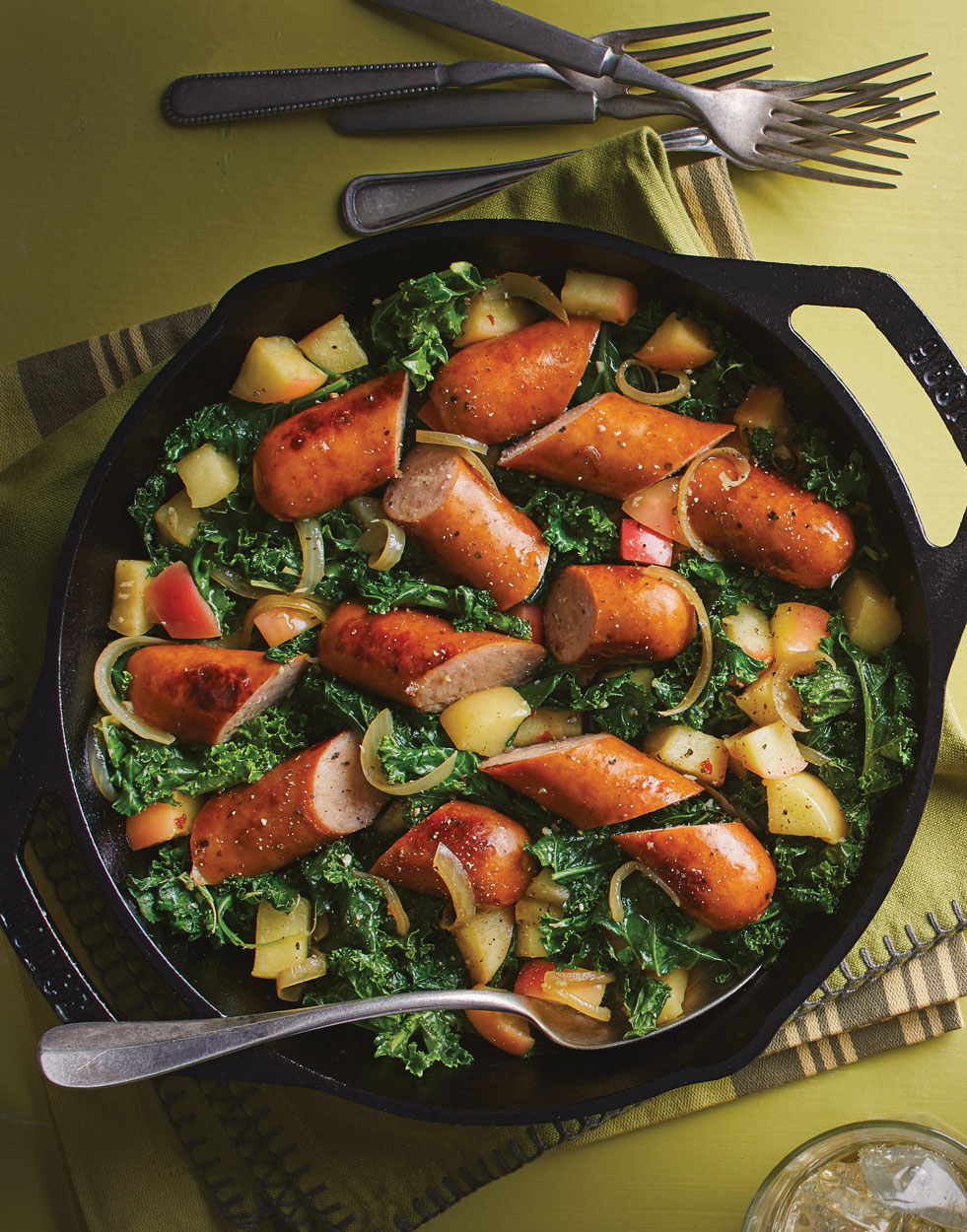 Chicken & Apple Sausage Skillet with Kale