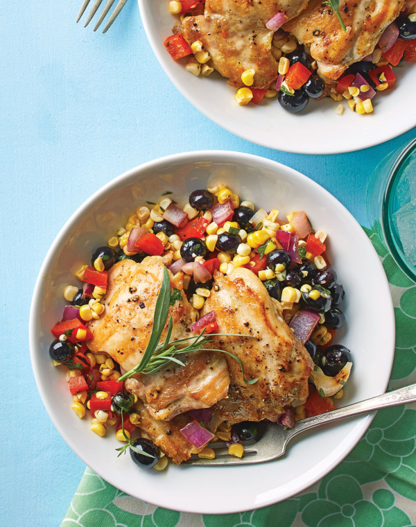 Tarragon Grilled Chicken with corn & blueberry salad