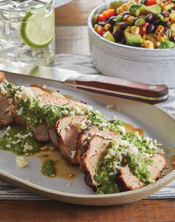 Grilled Pork Tenderloin with Scallion-Cilantro Sauce