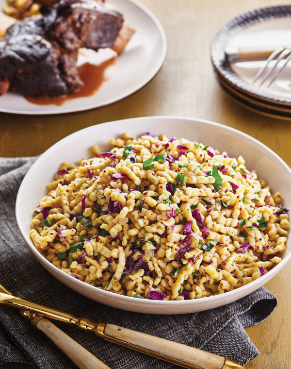 Apple Spaetzle with Mustard & Red Cabbage