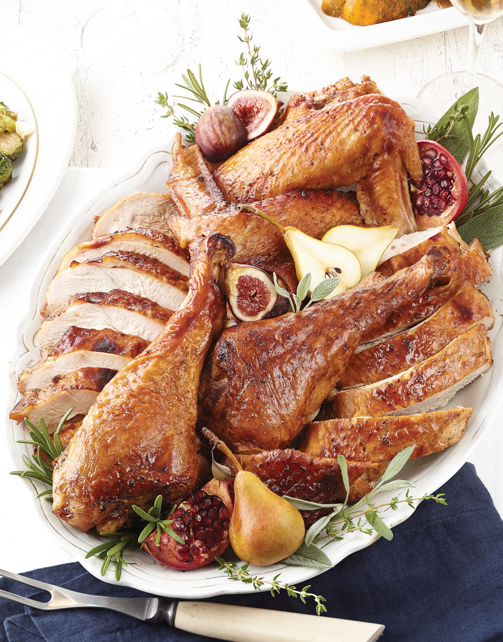 Roast Turkey Pieces & Dressing with Pomegranate Molasses Butter