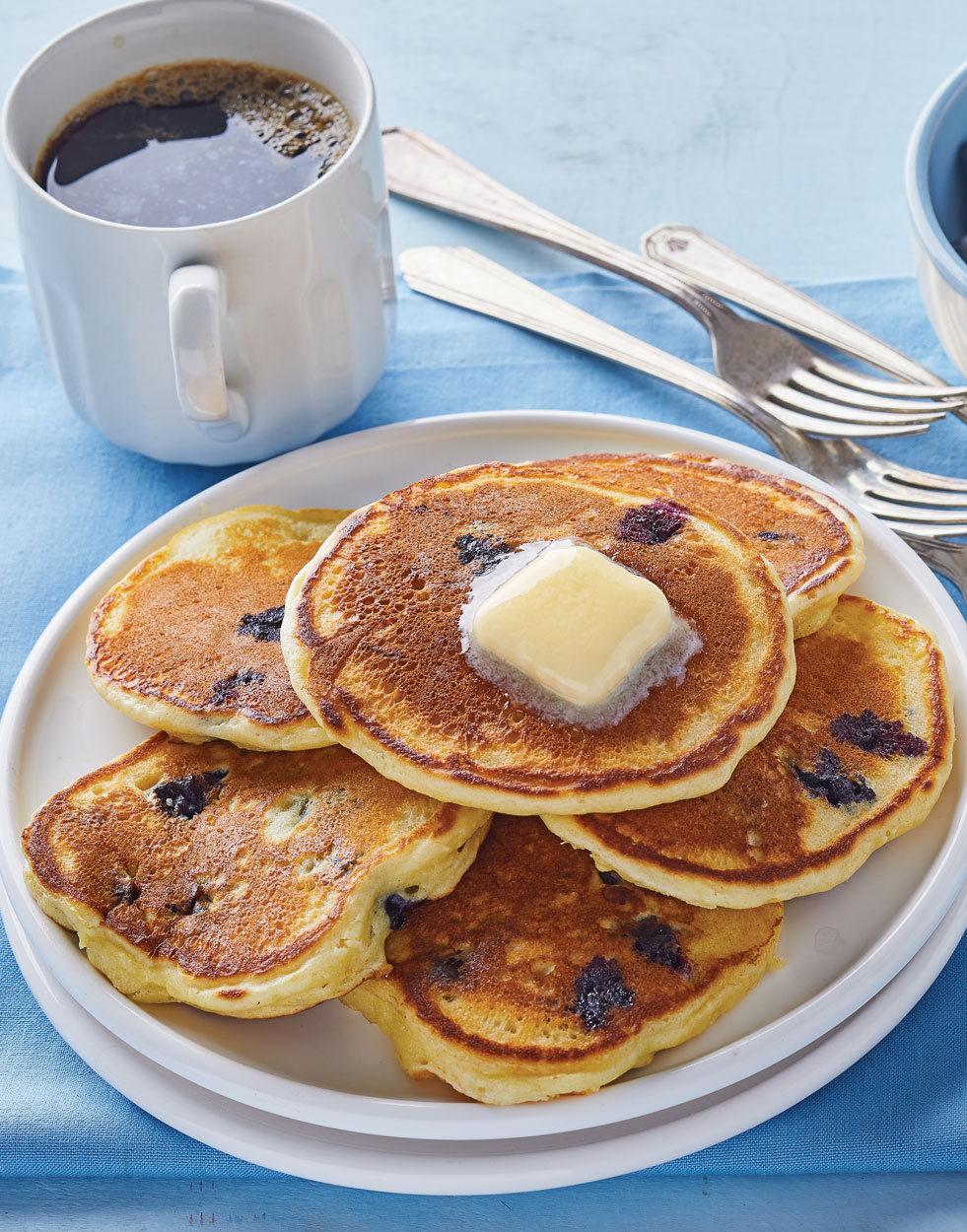 Blueberry Pancakes with Blueberry Syrup
