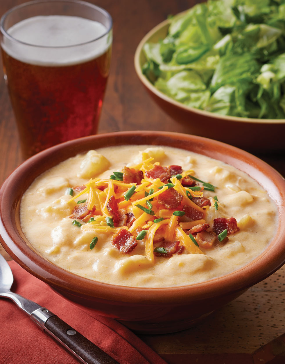 Cheesy Baked Potato Soup with bacon