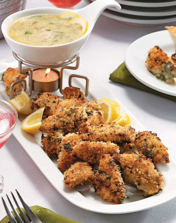 Piccata Fondue with panko-crusted chicken dippers