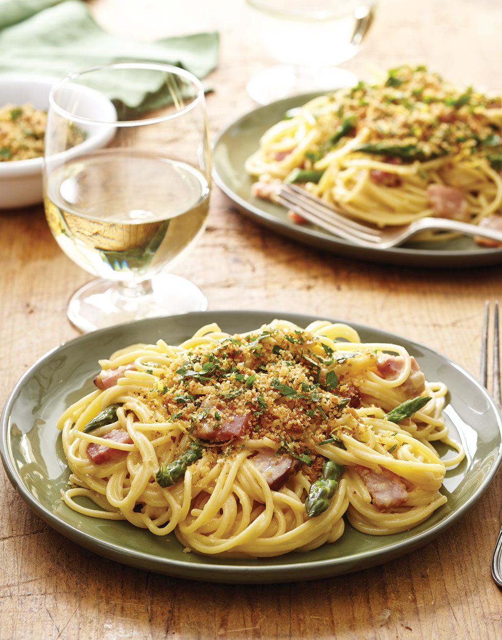 Ham & Asparagus Carbonara with bread crumb topping
