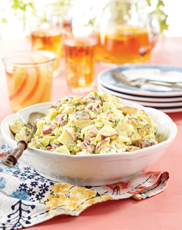 Creamy Potato Salad with watermelon pickles