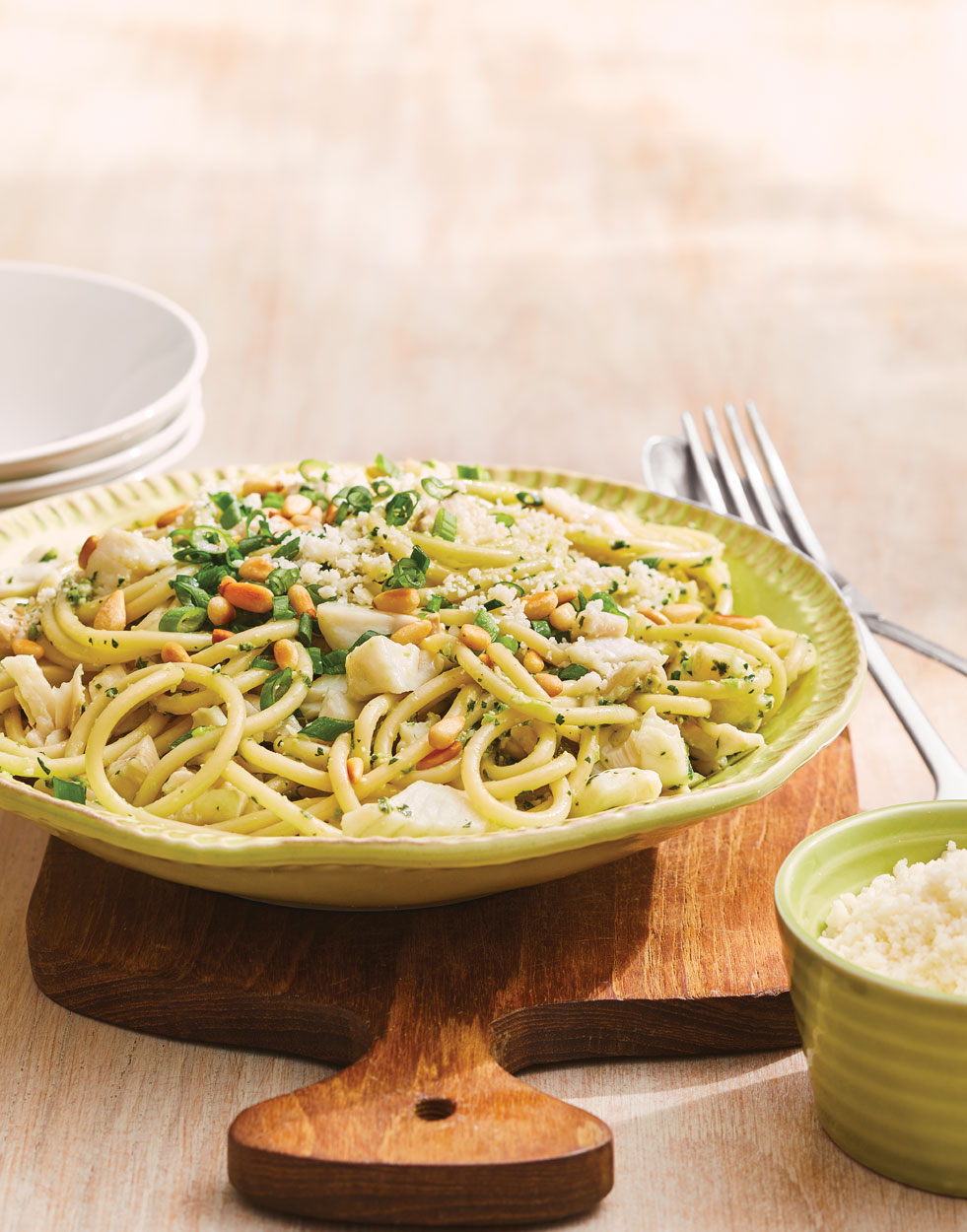 Fish & Bucatini Pasta with Salsa Verde