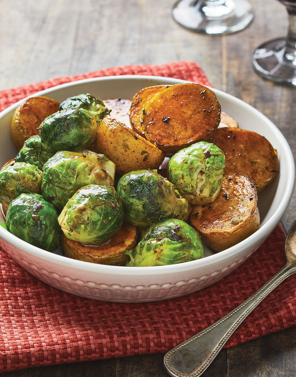 Fondant Potatoes & Brussels Sprouts with Velvety Pan Sauce