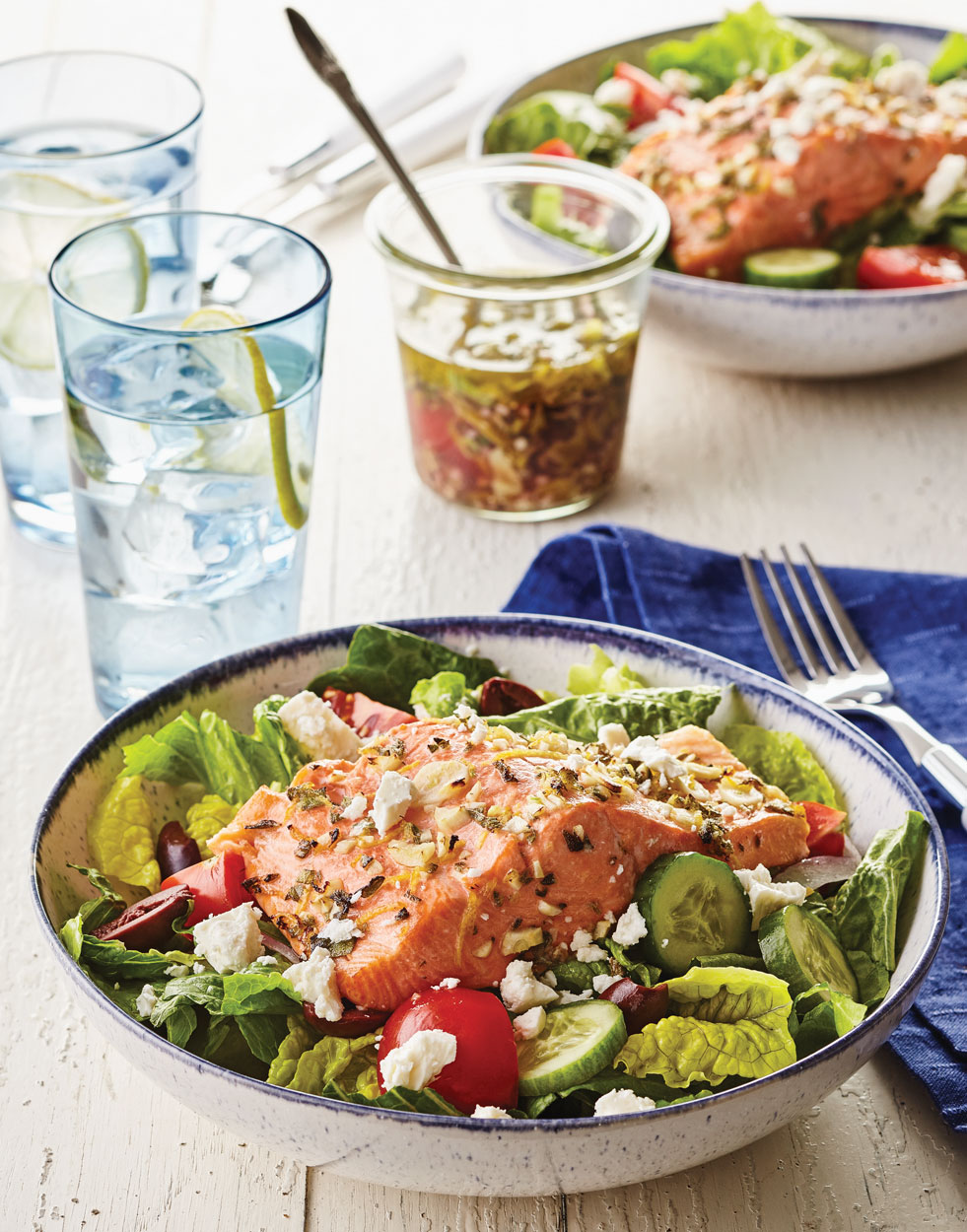Greek Salmon Salad Bowls