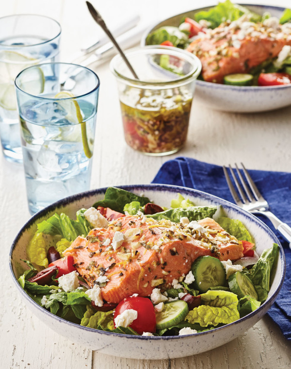 Greek Salmon Salad Bowls