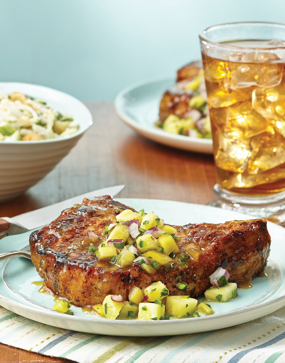 Pineapple-Glazed Pork Chops with pineapple & mango relish