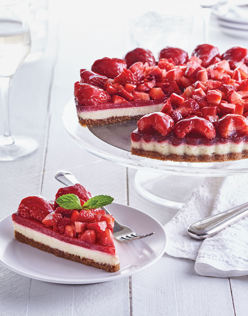 Strawberry Cheesecake Tart with pecan-graham cracker crust