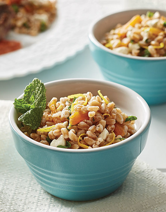 Farro with dried apricots & feta