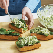 Fill bread boats with 1/2 cup chicken salad — any more than that makes the sandwiches hard to handle.