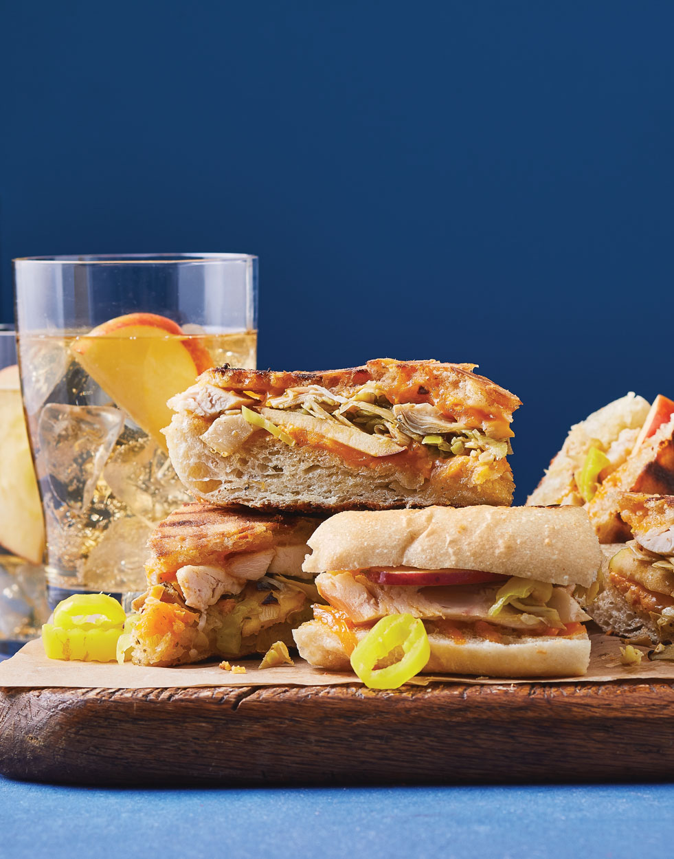 Chicken-Cheddar Panini with Artichokes & Apples