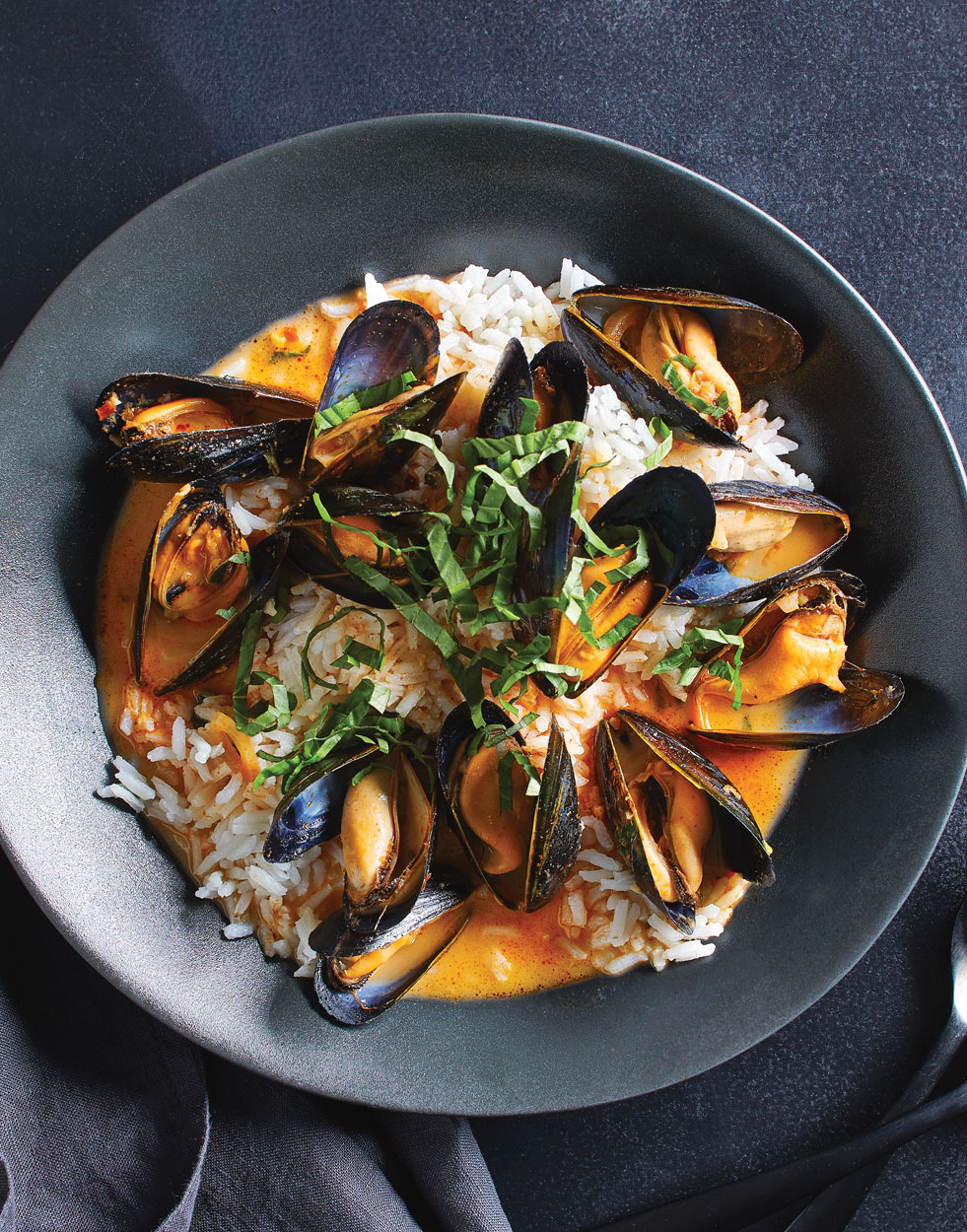 Red Curry Mussels with coconut rice