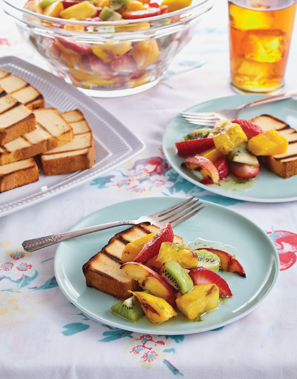 Grilled Fruit Salad with Grilled Pound Cake