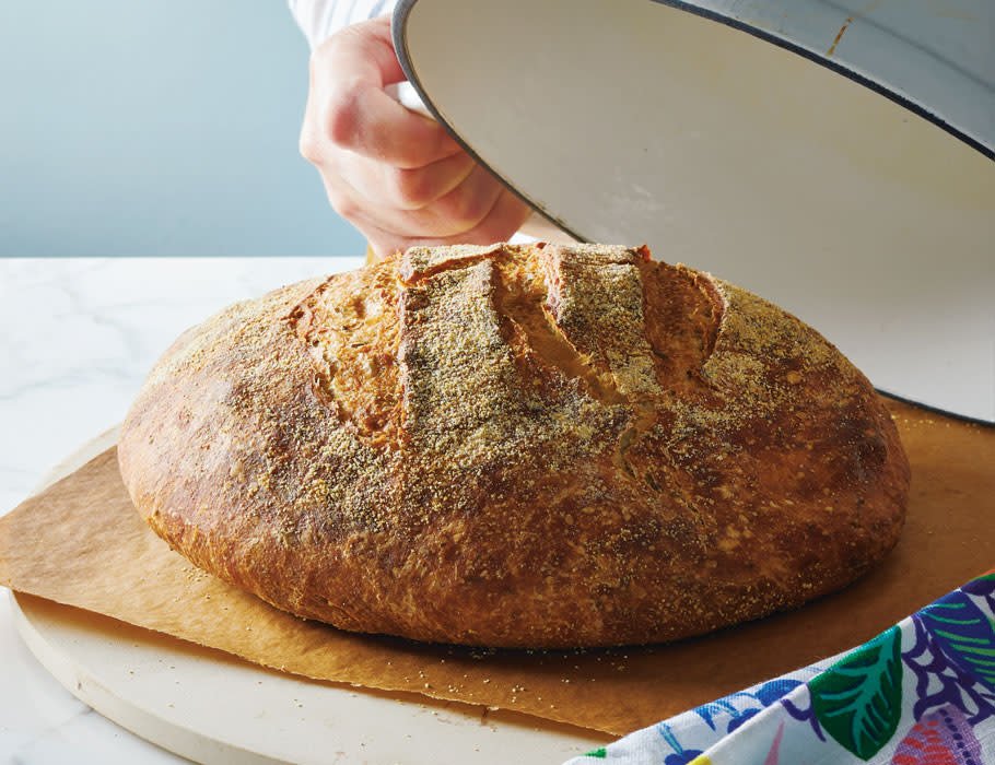 No-knead bread baked in a Dutch oven