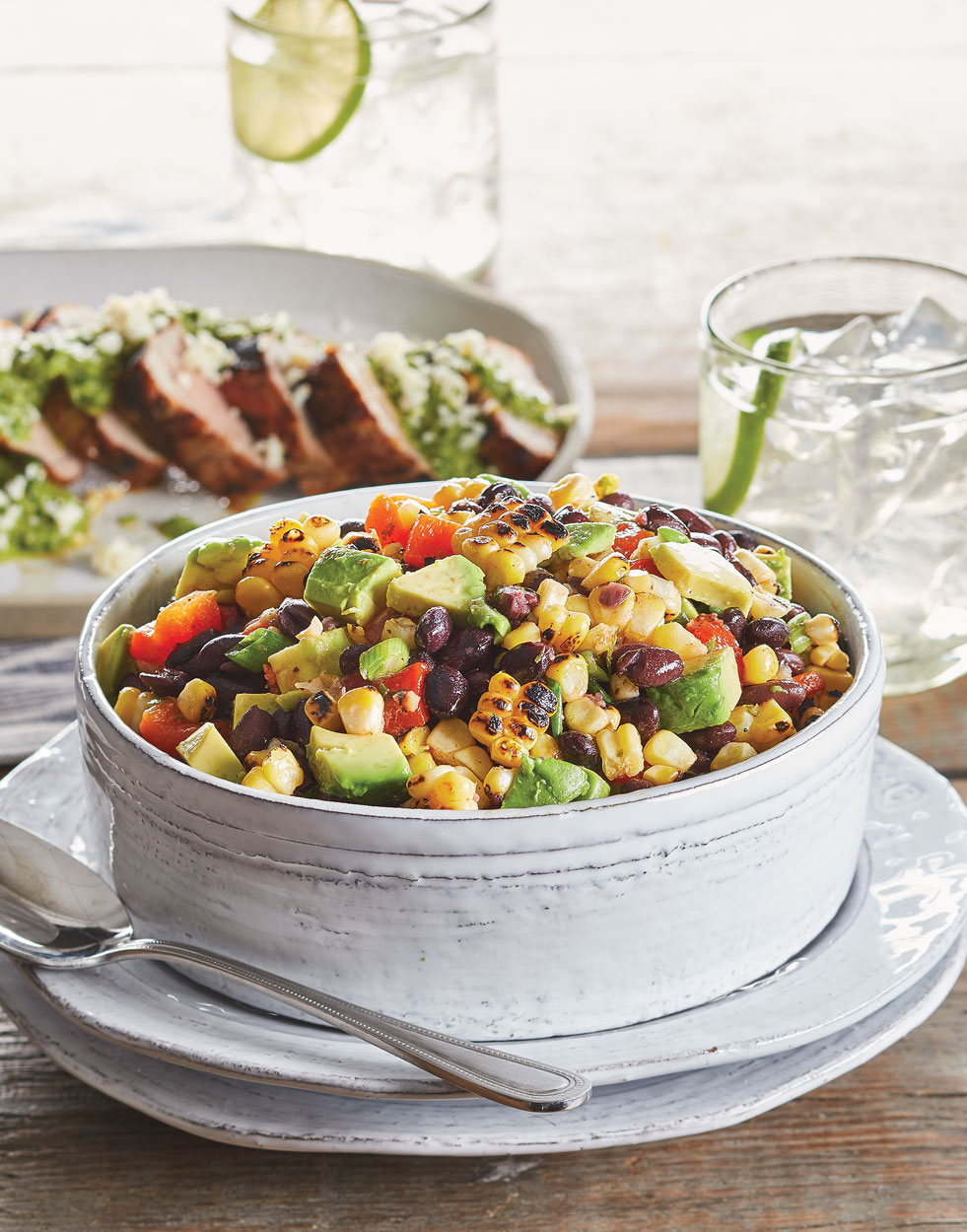 Charred Corn & Black Bean Salad with Red Bell Pepper and Avocado