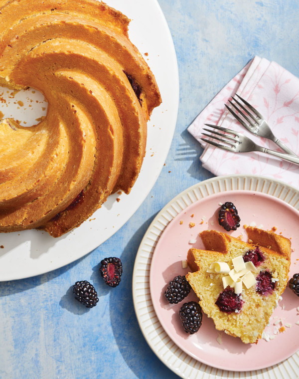 Blackberry Lemon Cake with White Chocolate and Olive Oil