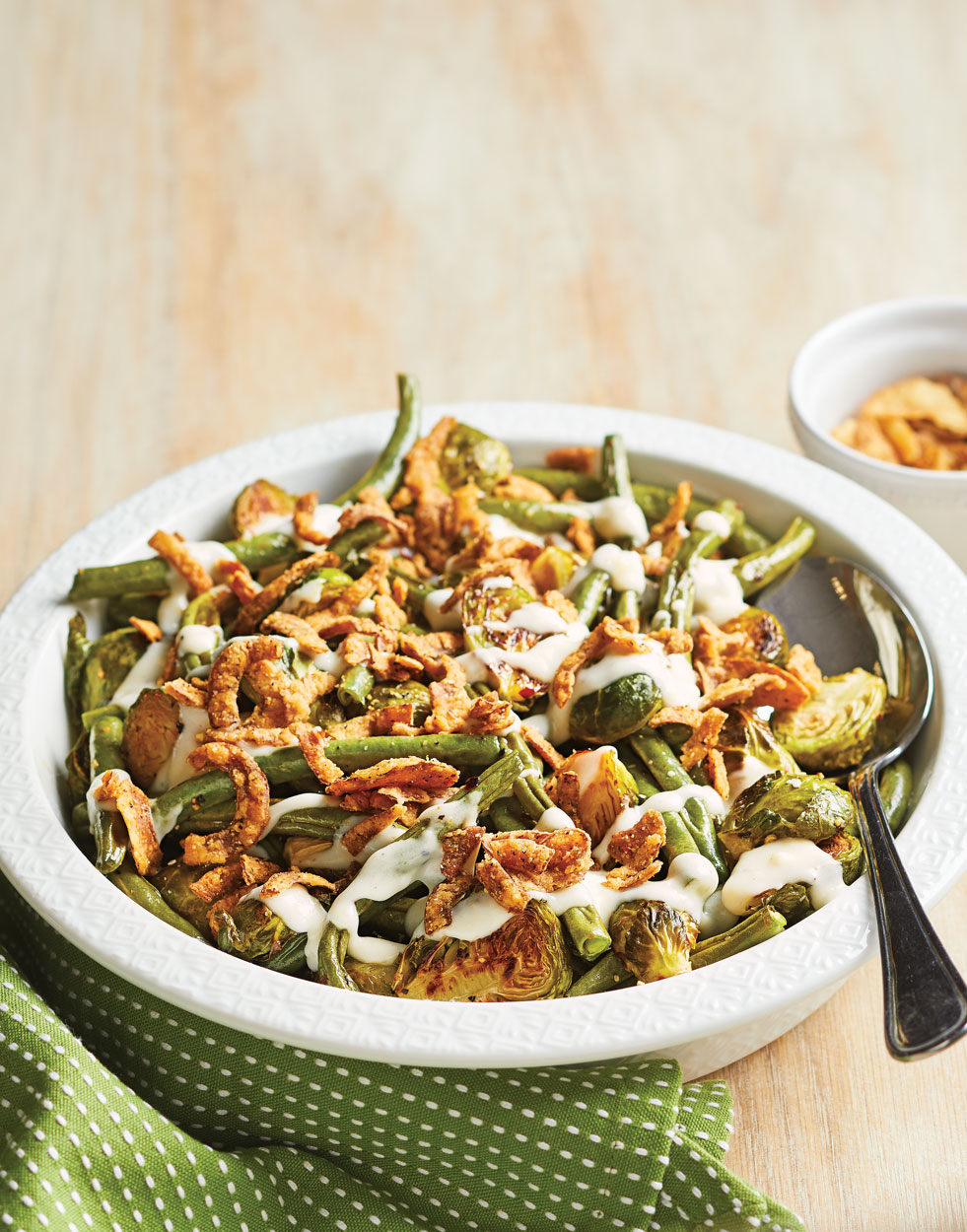 Roasted Brussels Sprouts & Green Bean Casserole