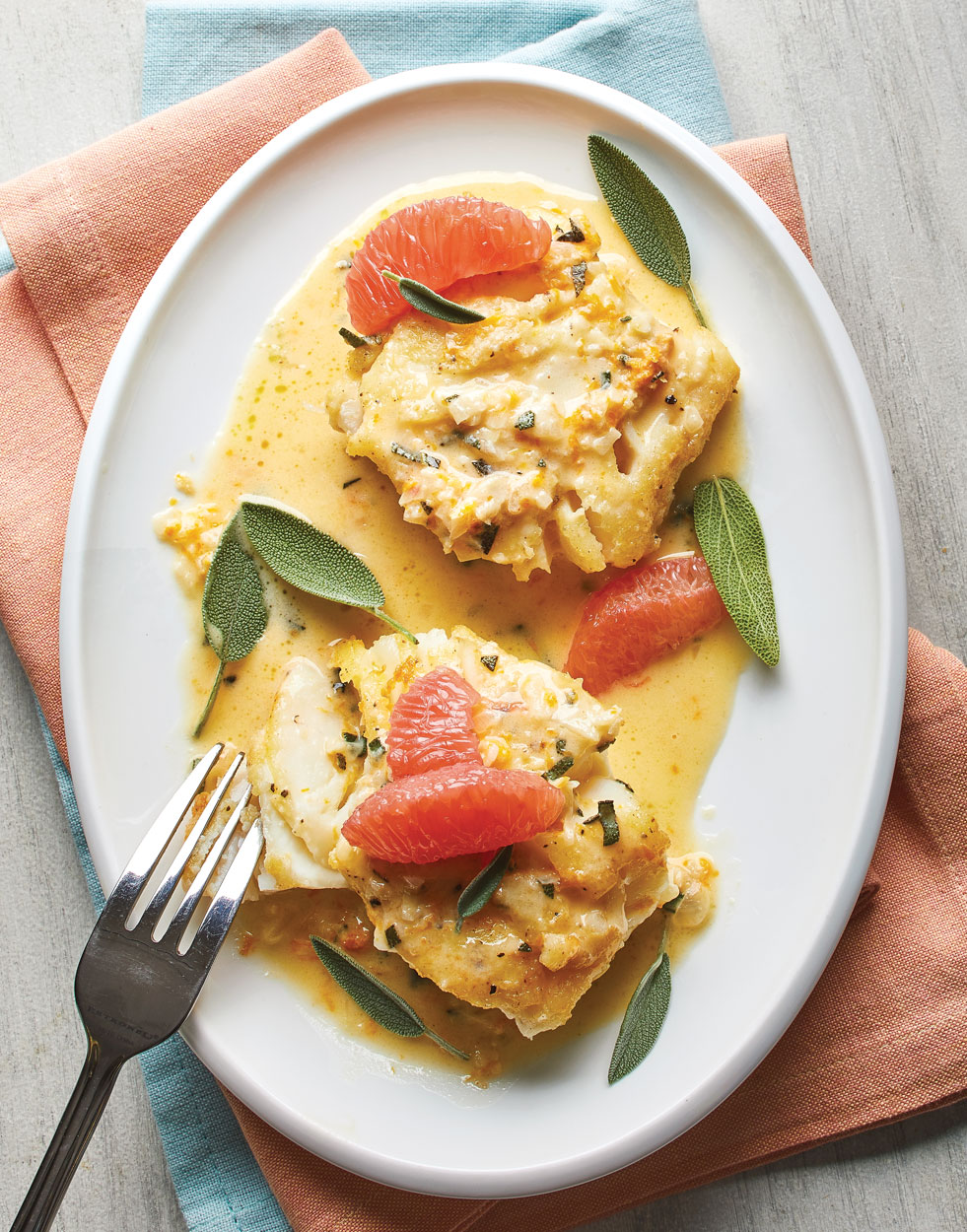 Sautéed Cod with grapefruit-sage sauce