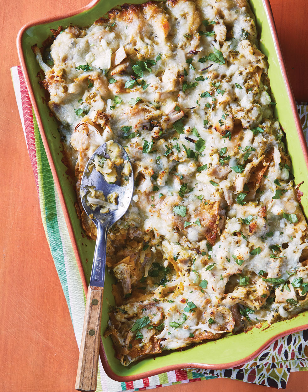 Green Chicken Chilaquiles Casserole