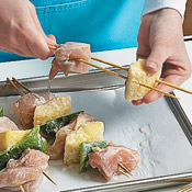 "Use two skewers per kebab – this way, the chunks won't ""spin"" on the sticks as you turn the kebabs."
