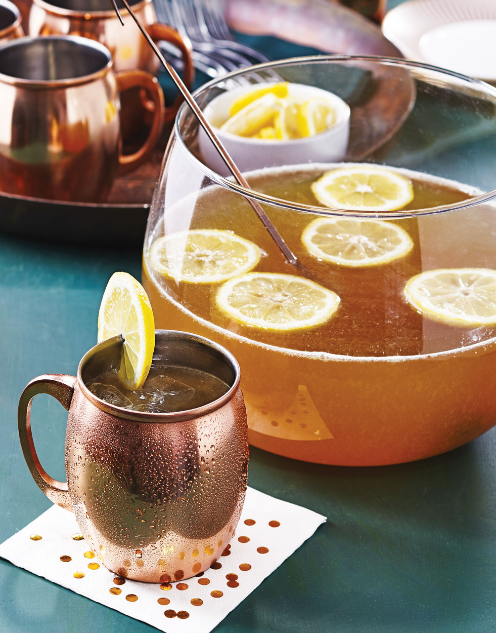 Brandy Mule Punch with Lemon Simple Syrup
